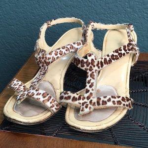 Shoes - Cheetah Print Furry Strappy Open Toe Pump Heel